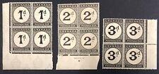 Grenada #J11,13,14 Blocks of 4 1921-22 MNH