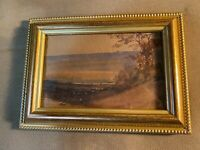 """Small Antique """"Expansive Landscape Scene"""" Watercolor Painting - Framed"""