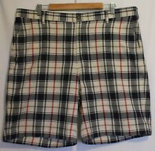 LANDS END ~ Mens White Navy Red Traditional Fit Check Plaid Cotton Shorts 40