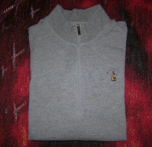 ASHWORTH 1/4 Zip Pullover Sweater Shirt WATERVILLE GOLF LINKS IRELAND Sz M Gray