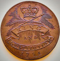 1794 ESSEX- SHIRE HALL-KING AND CONSTITUTION~UNCIRCULATED~RED/BROWN