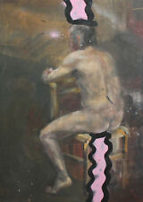 Vintage oil painting abstract composition nude