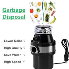 Garbage Disposal 1.0 Hp Continuous Feed Food Waste w/ Plug 2800 Rpm Home Kitchen