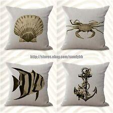 Us Seller-4pcs cushion covers beach costal seahorse crab cute decorative pillows