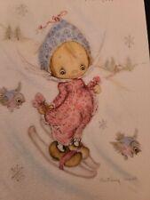 New listing Vtg Hallmark Betsey Clark Christmas Greeting Card Sweet Girl Snow Ski Bluebirds