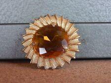 Costume Jewellery Brooch Stylised Sunflower Orange glass Stone 4cm