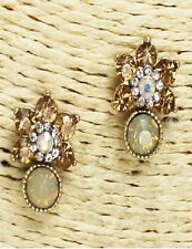 Antique Gold Topaz and AB Floral Crystal Earrings
