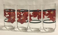 4 VTG Red Poinsettia Green Stripe Christmas Holiday Glass Tumblers Gibson 6""