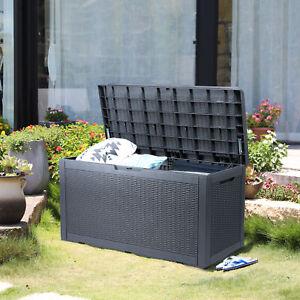 100 Gallon Resin Outdoor Deck Box Storage Patio Container Organizer Bin Bench