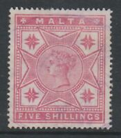 Malta - 1886, 5s Rose stamp - Wmk Mult Crown CA - Perf 14 - F/U - SG 30