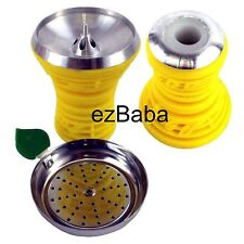 Silicone covered metal Hookah Head Bowl Music Design w/ Tray & Grommet, Yellow