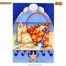 """Bucket O Beach Nautical Summer House Flag Sand Ocean Decorative 28"""" x 40"""""""