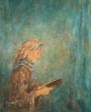 "ITZHAK TORDJMAN ""WOMAN PRAYING"" MIXED MEDIA ORIGINAL ON CANVAS H/S COA 18X21"