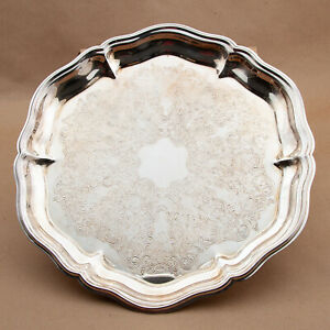 """Vtg Eales of Sheffield 1779 Small Round SilverPlate Scalloped Butlers Tray12.75"""""""