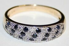Genuine 9ct Gold Sapphire & Diamond Pave Set Band Ring Size Q