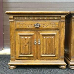 Ethan Allen Royal Charter Oak Commode Nightstand Table w/ Drawer  #16-5016