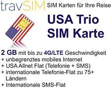 SIM Karte für die USA + unbegrenzte int. Telefonie,SMS & 2 GB LTE für 30 Tage