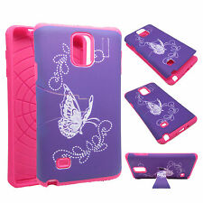 For Samsung Galaxy Note 4 Note4 Purple Butterfly Art Hard Case Cover A2