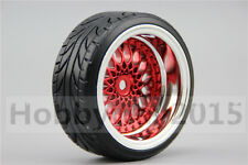 4pcs RC Hard 1/10 Pattern Drift Tires  Y12CR 9mm offset (Chrome+Painting Red)