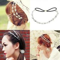 Women's Elastic Metal Rhinestone Crystal Headband Head Chain Hair Band Wedding