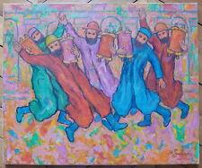 Nathan Gutman huile sur toile signée Judaica Art Ecole de Paris la fête juive