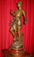 Statue Groupe en régule MERCURE et ANGELOT allégorie de l'industrie Fin XIXè
