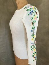 Vintage HAND EMBROIDERED Sweater COLORFUL FLORAL SLEEVES Import White M Medium