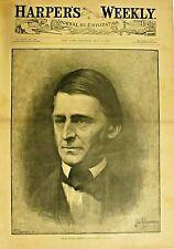 Ralph Waldo Emerson, Funeral, Bio - Obit, Portrait, 2pg, 1882 Antique Art Print