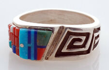 Native American Silver with Multi-Stone Inlay Ring Size 10 by Wilbert Manning