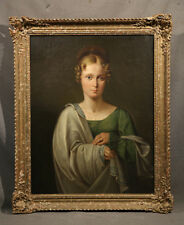 """19th Century European Unsigned Oil Painting """"Portrait of a Greek Goddess"""""""