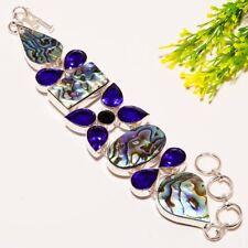 "Abalone Shell, Sapphire Quartz Fashion Jewelry Silver Bracelet 7-8"" SB-66"