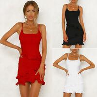 Womens Sleeveless Mini Cami Dress Summer Party Cocktail Holiday Ruffles Sundress