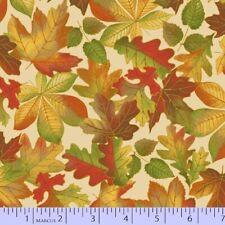 Marcus Fabric - Songbook Harvest Fall Autumn Leaf Toss Cream - Cotton YARD