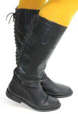 Damenstiefel Boots Vintage Stiefel Leder Flat Boots Reiter Military Schnürung 37