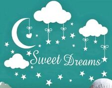 Sweet Dreams Moon Stars Clouds Wall Decal Nursery Childs Bedroom Baby - BLUE