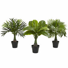 """Set of 3 Assorted Small Artificial 16"""" Areca Fountain & Banana Palm Trees Plants"""