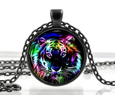 Tiger Necklace Cat Pendant Jewelry - Colorful Animal Picture Jewelry Girl Gifts