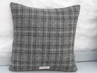 HARRIS TWEED Grey Wool Modern Check Cushion Cover
