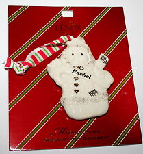 Lenox Merrily Yours Personalized Ceramic Snowman Holiday Ornament $13 New Rachel