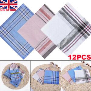 12Pcs Mens Handkerchiefs Gents Hankies Cotton Blend Hankerchiefs Hanky Gift UK