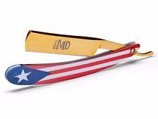 ~SHAVE READY~ MD Barber Straight Razor - Puerto Rico Flag - Gold Rush