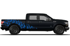 Vinyl Decal Wrap Kit TIRE TRACKS for Ford F-150 2015-2017 BLUE SuperCrew 6.5 Bed