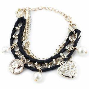 Modisches Bettelarmband Charm Damen Armband Armreif Perlenarmband schwarz