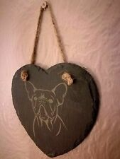 Slate Hanging Heart Shaped French Bulldog Plaque (B)