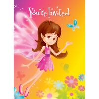 FAIRY WHIMSY INVITATIONS PACK OF 8 PARTY INVITES