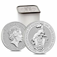 Roll of 10 - 2021 Britain 2 oz Silver Queen's Beasts White Greyhound of Richmond