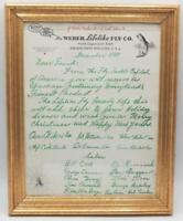 Antique Fly Fishing Weber Lifelike Fly Co. Company Signed Christmas Letter