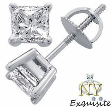 CERTIFIED .50ct H/VS2 PRINCESS-CUT GENUINE DIAMONDS IN 14K GOLD STUDS EARRINGS