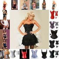 Sexy Basques Burlesque Lace-Up Bustier Top TUTU Costume Corset Skirt Fancy Dress