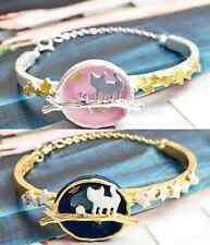 B417 Betsey Johnson Running Kitty Tabby Black Cat On Planet Moon Bracelet US